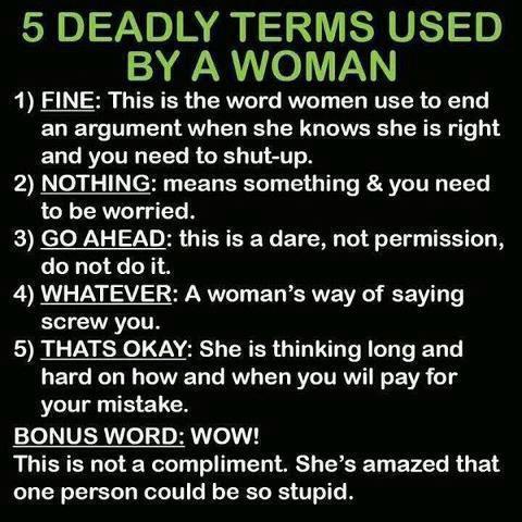 5 terms woman