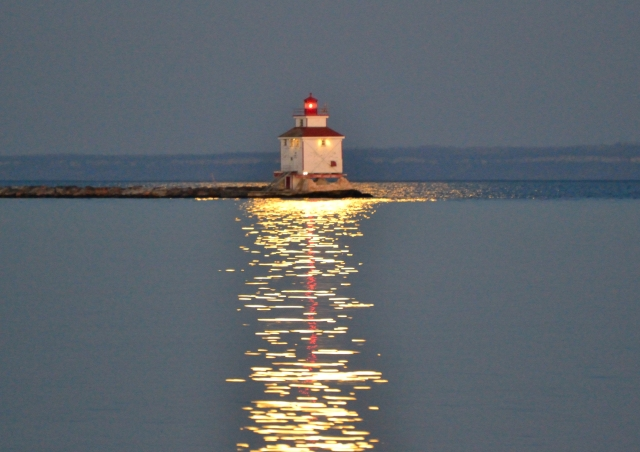 DUSK LIGHTHOUSE IN FULL MOON REFLECTION Nov. 14, 2016