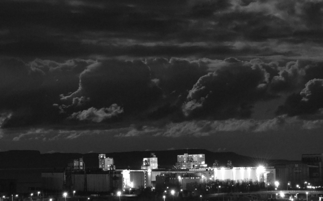 BLACK AND WHITE EVENING GRAIN ELEVATORS