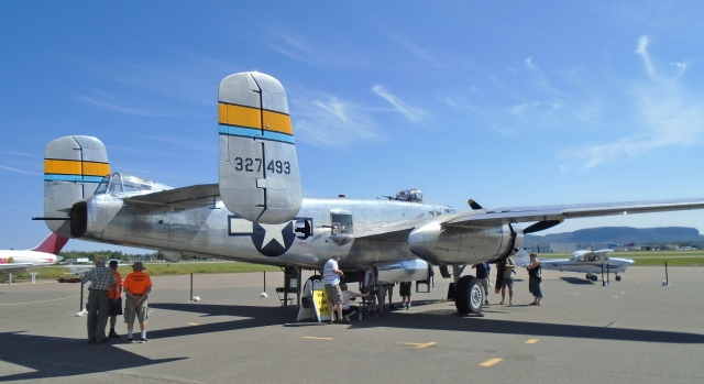 RESTORED B-25 BOMBER On display at Thunder Bay Airport  Aug. 3, 2016