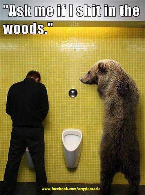 bear piss urinal shit woods