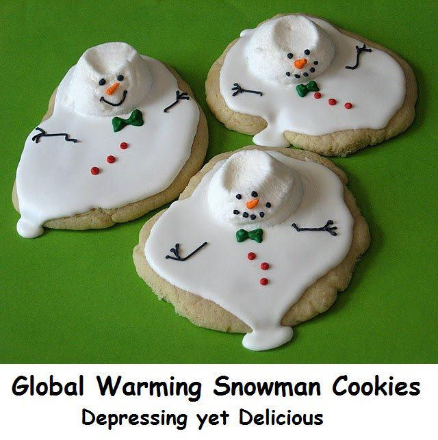 global warming snowman cookies
