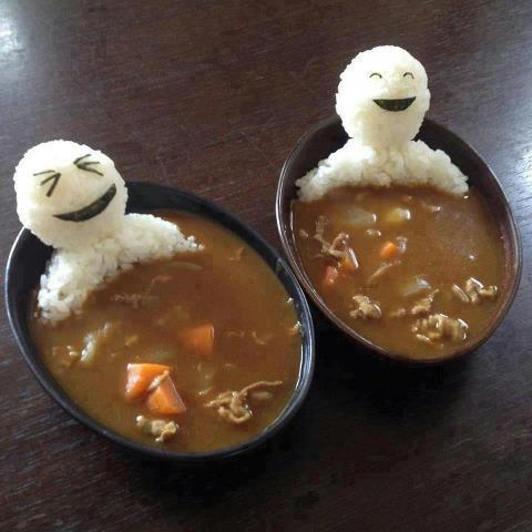 smiling rice in soup