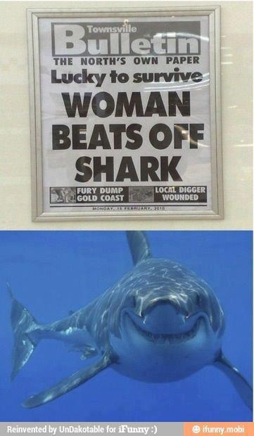 woman beats off shark