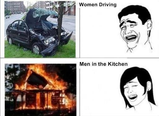 women drive men kitchen