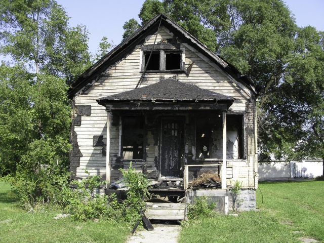 exterior abandoned house