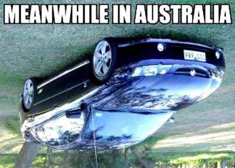 Australia meanwhile upside down X