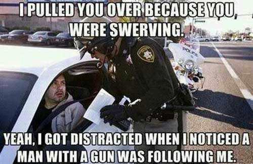 cop gun swerving X