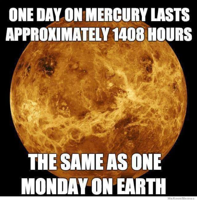 Mercury day Monday earth X