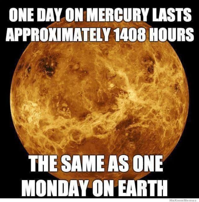 Mercury day Monday earth X
