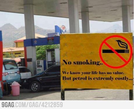 no smoking petrol expensive X
