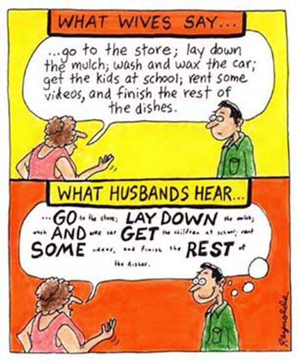 wives say husbands hear X